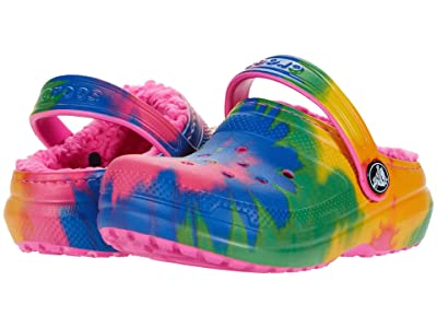 Crocs Kids Classic Lined Tie-Dye Graphic Clog (Toddler/Little Kid/Big Kid) (Electric Pink/Multi) Kid