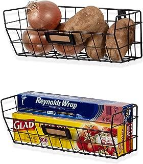 Wall35 Macon Wall Mounted Kitchen Storage Metal Wire Fruit Basket Set of 2 (Black)