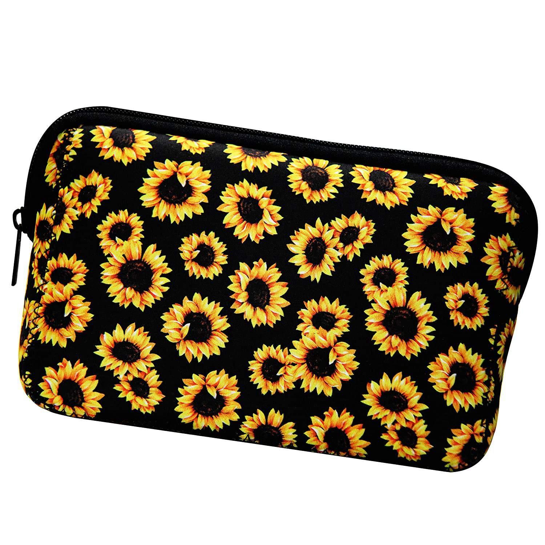 OVBBESS Max 88% OFF Sunflower Floral Makeup Bag Brand Cheap Sale Venue Neoprene Tra Waterproof Soft