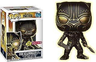 Funko Erik Killmonger - Glow Panther [Glow-in-Dark] (Target Exclusive) POP! Marvel x Black Panther Vinyl Figure + 1 Official Marvel Trading Card Bundle [#279 / 23351]