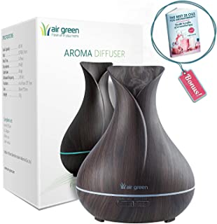 Humidifier Aroma Essential Oil Diffuser - 400 ml Wood Grain Cool Mist Ultrasonic Aromatherapy with 6 colors LED Lights Changing - Waterless Auto Shut Off - For Bedroom Large Room Office Yoga Spa