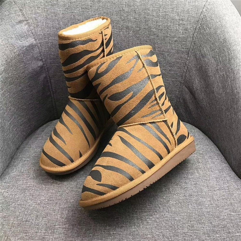 DXD Modische Schneeschuhe Stiefel mit Flachem Boden und Samt Warme, Rutschfeste Stiefel