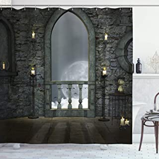 Ambesonne Gothic Decor Collection, Full Moon Birds Fairytale Fantasy Old Castle Balcony Candle and Night View, Polyester Fabric Bathroom Shower Curtain, 84 Inches Extra Long, Grey Ivory Cream