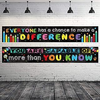 2 Pack Motivational Classroom Banner Poster Positive Banner Inspirational Banner for Students Educational Teacher Classroo...