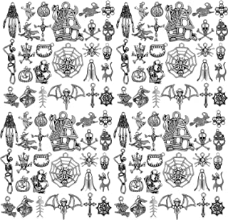70 Pieces Halloween Charm Silver Collections Antique Pendant Charms Jewelry Crafting Supplies for DIY Necklace Bracelet