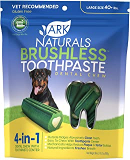 Ark Naturals Brushless Toothpaste for Large Breeds, Vet Recommended Natural Dental Chews for Dogs, Plaque, Tartar & Bacter...