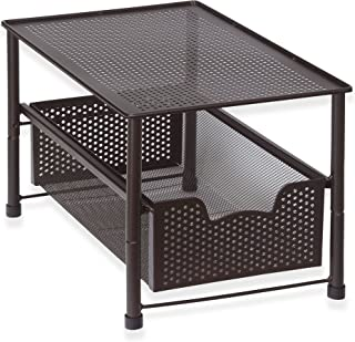 SimpleHouseware Stackable Under Sink Cabinet Sliding Basket Organiser Drawer, Bronze