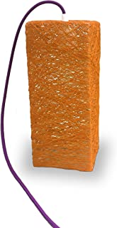 Lámpara de sobremesa prisma naranja decorativa de hilo de algodón, artesanal, hecha a mano, diseño minimalista. TABLE PRISM
