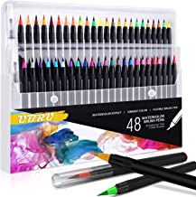 UBRU Watercolor Brush Pens, Set of 48 Watercolor Painting markers and 2 Water Brush Pens, Flexible Nylon Brush Tips, Non-Toxic Ink, Suit for Adult and Kids Coloring Books, Drawing, Calligraphy