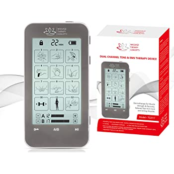 TENS Unit and EMS Combination Muscle Stimulator with 2 Channels, 12 Modes for Pain Management for Back, Neck, Arms, Legs, Abs, and Muscle Rehabilitation