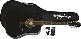 Epiphone FT-100 Acoustic Guitar Player Pack with Gigbag, Strap, Picks, and Tuner - Ebony