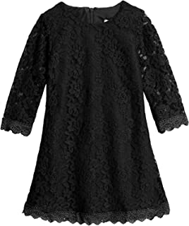 Flower Girls Lace Dress Country Weeding Party Dresses, White Black Red - Black - 6/6X