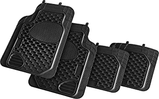 Suzec 130410 Car Foot/Floor Rubber Universal Mat with Pockets (Set of 5, Black)