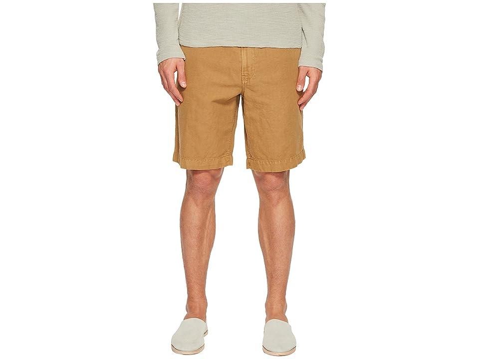 Image of Billy Reid Clyde Linen Shorts (Dark Tan) Men's Shorts
