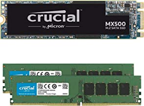 Crucial MX500 500GB M.2 SATA 6Gb SSD Bundle with Crucial 16GB (2 x 8GB) DDR4 PC4-21300 2666MHz Memory Kit Compatible with ...
