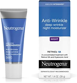 Neutrogena Ageless Intensives Anti-Wrinkle Retinol Cream with Hyaluronic Acid - Night Moisturizer Cream with Retinol, Vita...
