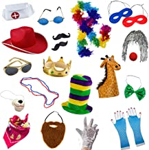 Funny Party Hats Photo Booth Props - Photo Booths for Parties - 18 Pc. Assorted Photo Booth Kit (18 Pc Adult Props)