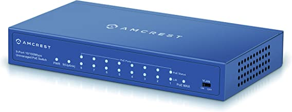 Amcrest 9-Port POE+ Power Over Ethernet POE Switch with Metal Housing, 8-Ports POE+ 802.3at 96w (AMPS9E8P-AT-96)