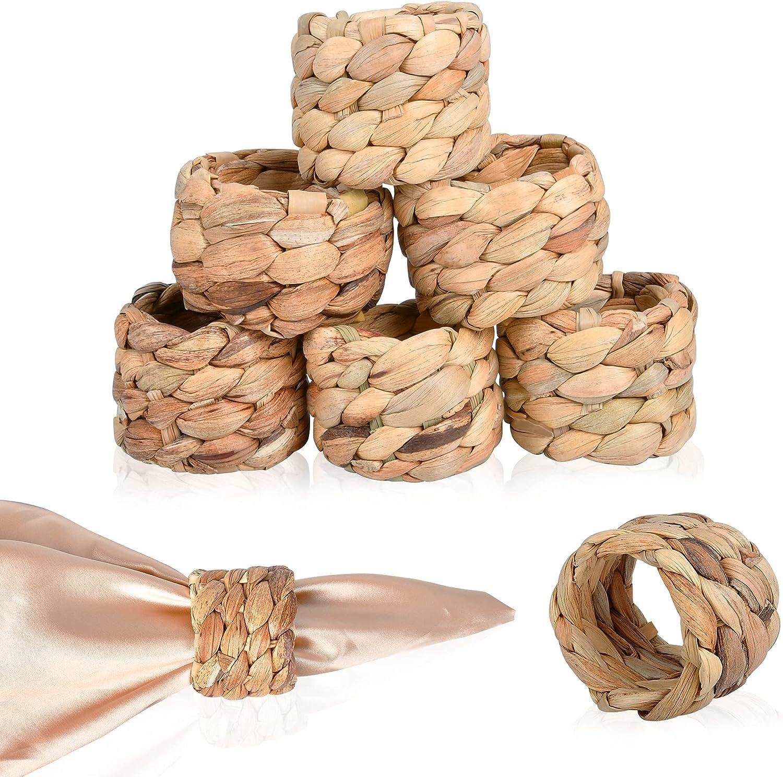 Worldity Woven Napkin Rings Set of Handmade Natural Hya 8 latest Many popular brands Water