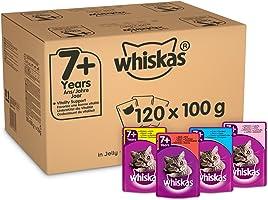 Whiskas 7+ Nat Kattenvoer voor Katten vanaf 7 Jaar, in Verschillende Smaken, (120 x 100 G)
