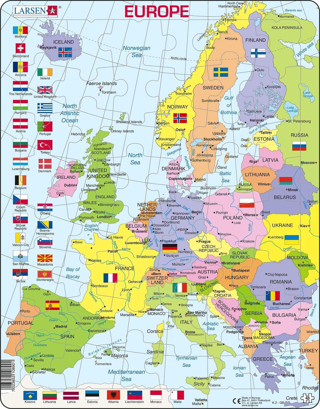 Larsen K2 Mapa político de Europa, edición en Inglés, Puzzle de Marco con 48 Piezas: Amazon.es: Juguetes y juegos