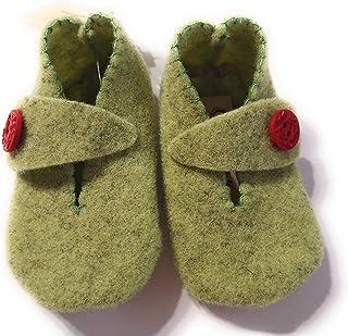 Scarpine 3-6 mesi bambino e bambina in feltro lanato fatte a mano