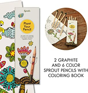 Sprout Kids Colour Kit | Set of 6 Coloured and 2 Graphite Plantable Pencils with plant seeds and a colouring book | 100% organic and biodegradable