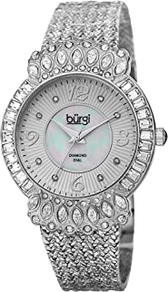 Burgi Womens Quartz Watch, Analog Display and Brass Strap