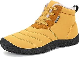 POPOTI, Botas de Nieve Unisex, Popoti Hombre Mujer Botas de Nieve Zapatos Antideslizante Calientes Fur Botines Forradas Cortas Boots Algodón Zapatos Invierno Aire Libre Botines (Amarillo, 37)
