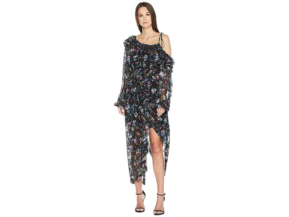 Preen by Thornton Bregazzi Cosmos Dress w/ Black Jersey Slip (Black Floral) Women