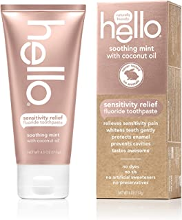 Hello Oral Care Sensitivity Relief SLS Free Toothpaste with Fluoride, Soothing Mint with Coconut Oil, 4 Ounce