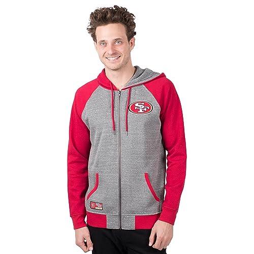 ce3db721419 ICER Brands NFL Men s Full Zip Hoodie Sweatshirt Raglan Jacket