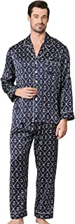 LilySilk Long Silk Pajamas Set for Men 19 Momme 100% Mulberry Silk Sleepwear Sailor Anchor Printed Silk Pyjamas