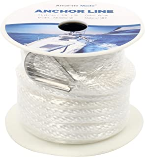 Amarine Made 3/8 Inch 50FT Premium Solid Braid MFP Anchor Line Braided Nylon Anchor Rope/Line with Thimble (3/8