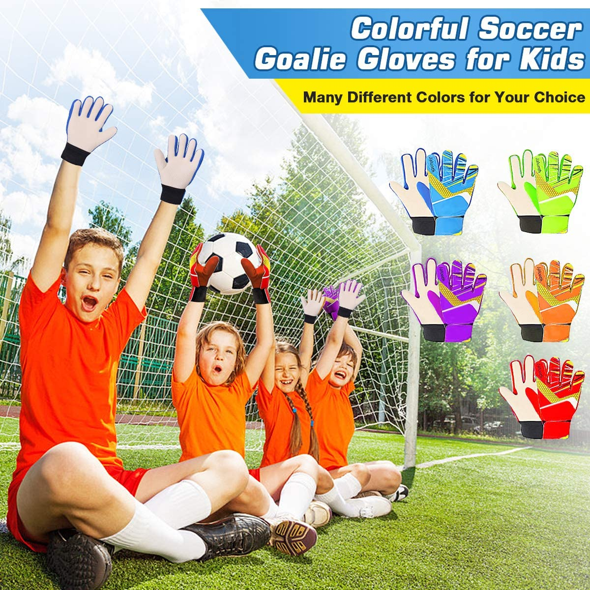 Jalunth Goalkeeper Goalie Soccer Gloves - Kids & Youth Football Goal Keeper Gloves with Embossed Anti-Slip Latex Palm and Soft PU Hand Back : Sports & Outdoors