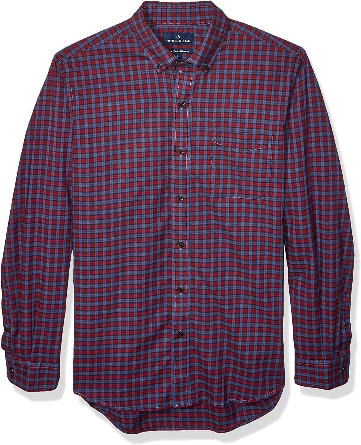 Buttoned Down Men's Classic Fit Supima Cotton Brushed Twill Plaid Sport Shirt