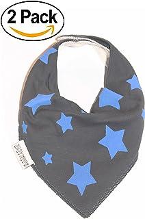 PACK of 2 Alternative Baby Bandana Bib x2 New Baby Shower AWARD WINNING Twinkle Stars Baby Dribble Bibs Unisex by BABY MOOS UK Unisex Neutral or Twin Baby Gifts