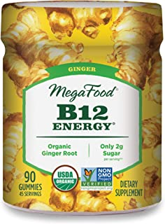MegaFood, Certified Organic B12 Energy Ginger Gummies, Soft Chew Vitamin B12 Supplement for Cellular Energy Support, Glute...
