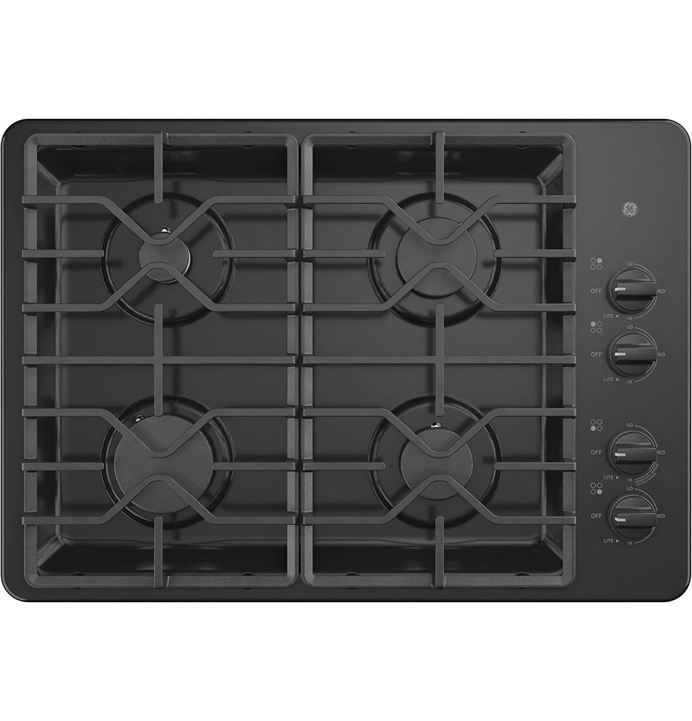 GE JGP3030DLBB 30 Inch Gas Cooktop with MAX System, Power Broil, Simmer, Continuous Grates, Sealed Burners and ADA Compliant tkaatkixowasf8