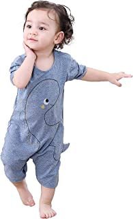 COTTON FAIRY Newborn Baby Boys Cute Dinosaur Printing Short Sleeve Romper Jumpsuit Bodysuit Onesies Clothes