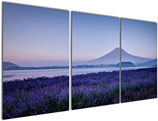 Gardenia Art - Purple Flower Sea of Lavender Canvas Prints Modern Wall Art Paintings Mountain and Lake Scenery Artwork for Room Decoration,16X24 inch,Stretched and Framed