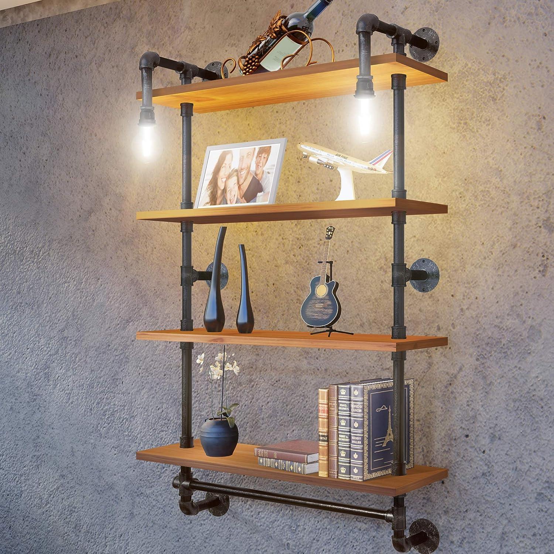 TRUSTUSS Industrial Pipe Metal Shelf Shelving Shelves with Vintage Bulb  Solid Wood Planks for Bathroom Storage Bookshelf Corner Bedroom Wall  Mounted ...