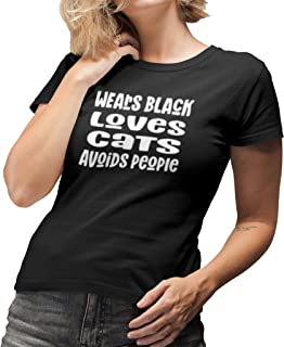 Womens Wears Black Loves Cats Avoids People Short Sleeve Black Modern Tapered Fit Ladies T-Shirt