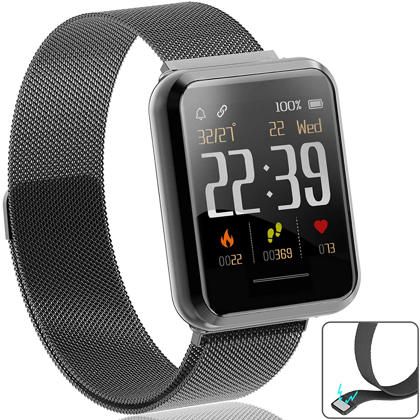 [TR-LCD Screen] Fitness Tracker Smart Watch for Men Women, Waterproof Sport Wrist Watch with Heart Rate Blood Pressure Monitor Calorie Pedometer SMS Reminder (24h Constant Display)