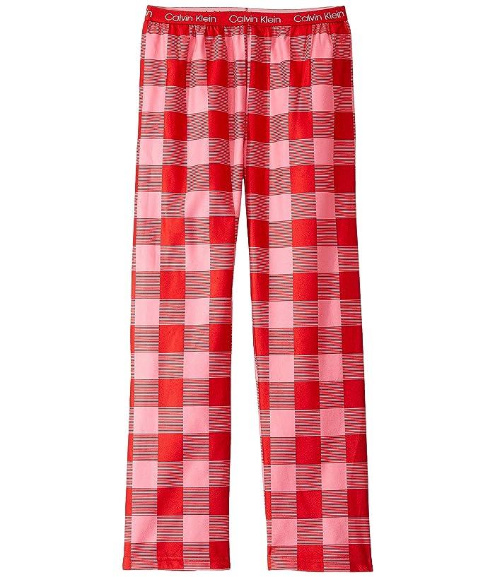 Brushed Micro Pants (Little Kids/Big Kids) (Pink Red Buffalo) Girl's Pajama