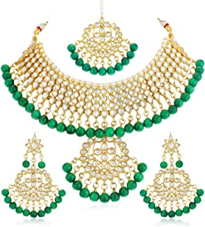 Sukkhi Trendy Kundan Gold Plated Wedding Jewellery Choker Necklace Set for Women (N73543_D1)