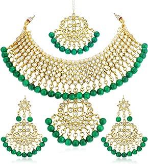 Sukkhi Gold Plated Kundan Pearl Fancy Choker Necklace Set Traditional Jewellery Set with Earrings for Women & Girls (N73543_D1)