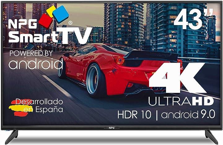 Smart tv 43 pollici -   android 9.0 hdr wifi pvr dolby digital+ tv npg led 43