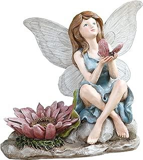Napco 11285 Sitting Fairy with Bird Garden Figure, 7.75