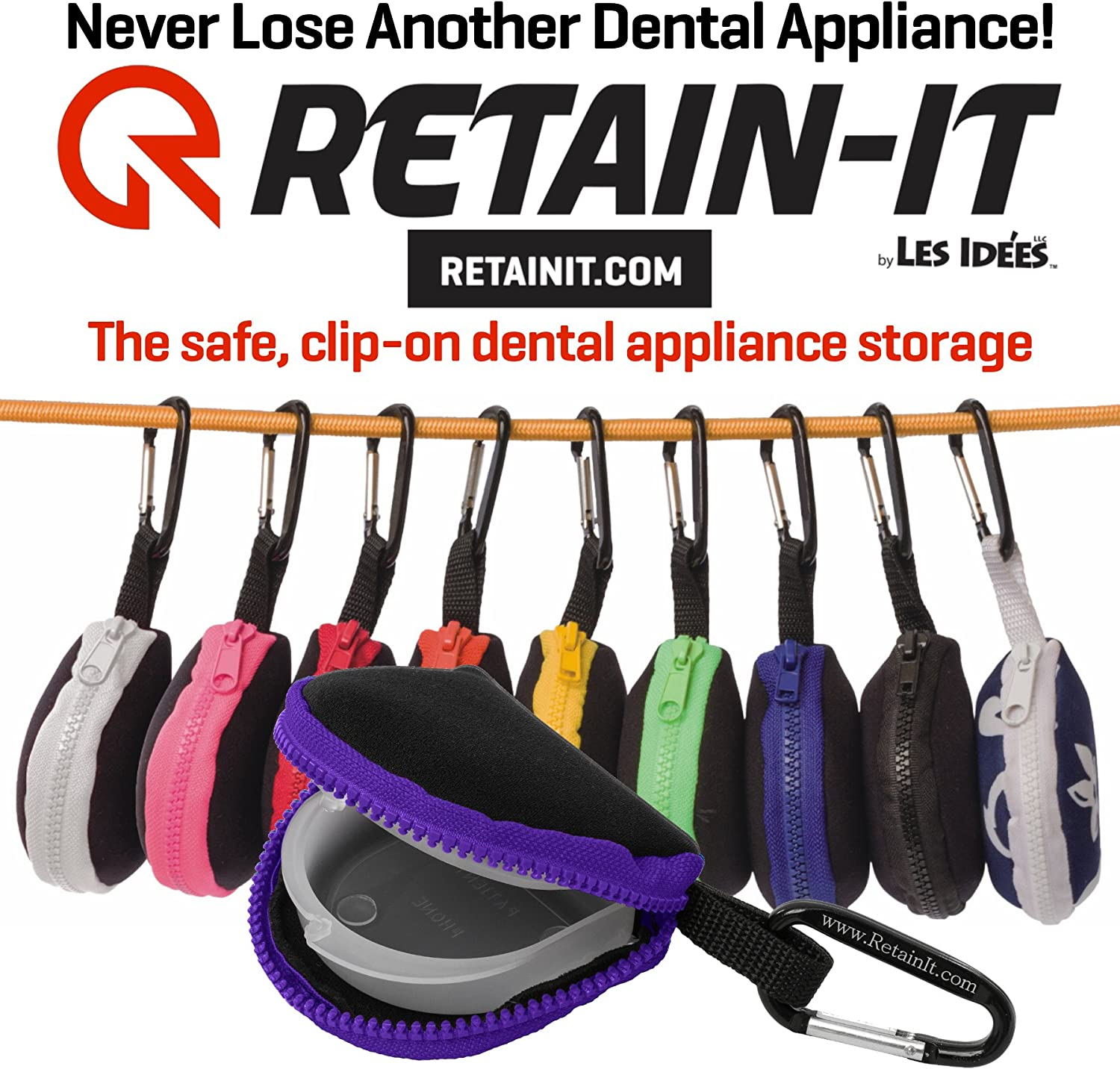 Retainit  The Safe, Clipon, Retainer, Mouth Guard and Dental Appliance Storage Solution  (Purple)